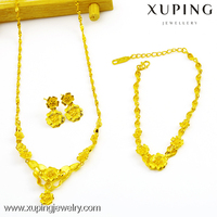 xuping costume jewelry fashion 24k gold plated wedding bridal jewelry set