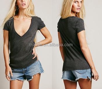 Sexy Fashion Women T Shirts Design Deep V Neck T Shirt For Lady 45a9e7433d