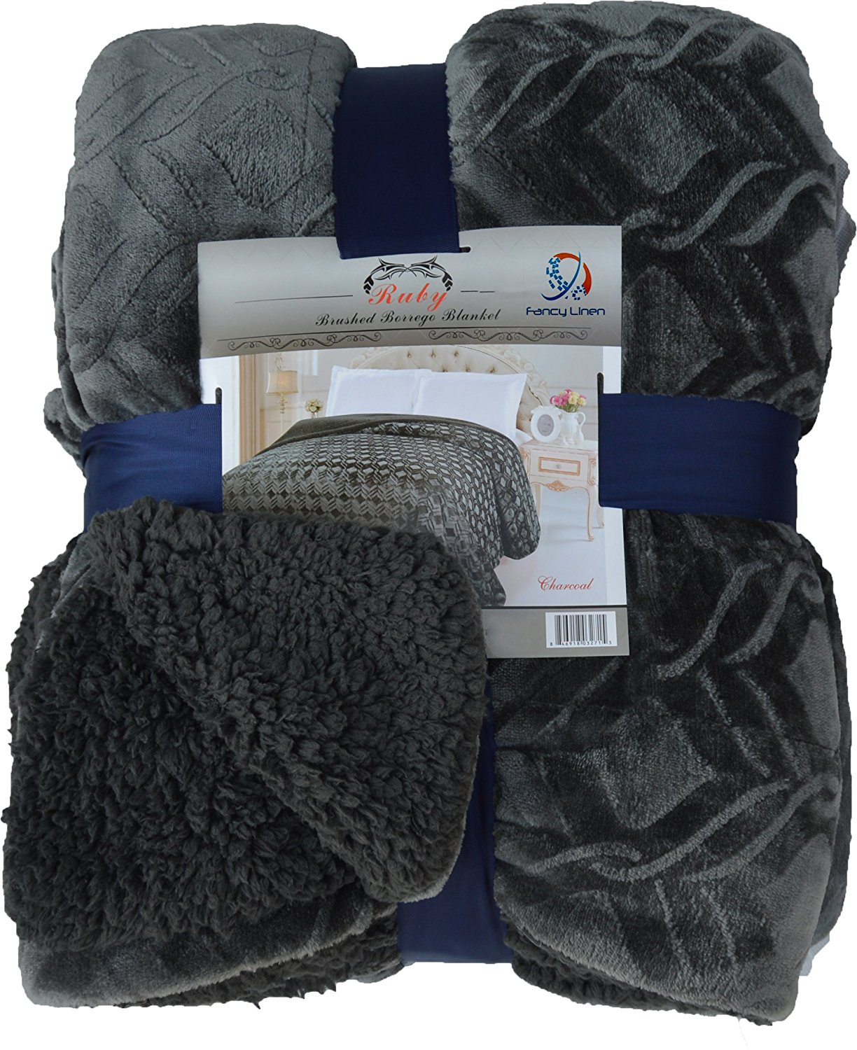 Fancy Collection Queen/king Size Embossed Blanket Sumptuously Soft Plush Sollid Chrcoal with Sherpa Revirsable Winter Blankets Bedspread Super Soft New (Queen/King, Dark Grey/Charcoal)