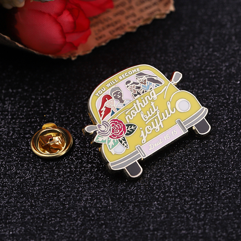 Top quality direct sell metal hard enamel glitter custom car lapel pins