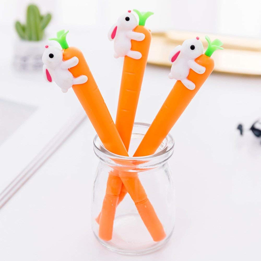 8 Piece Korean Cartoon Kawaii Carrot Rabbit Bunny Black Gel Ink Pens 0.5mm Animal Rollerball Maker Pens School Stationery Writing Pen Nurse Office Supplies Student Award Gift for Kids Children
