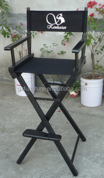 tall wooden folding directors chair black canvas foot rest - Tall Directors Chair