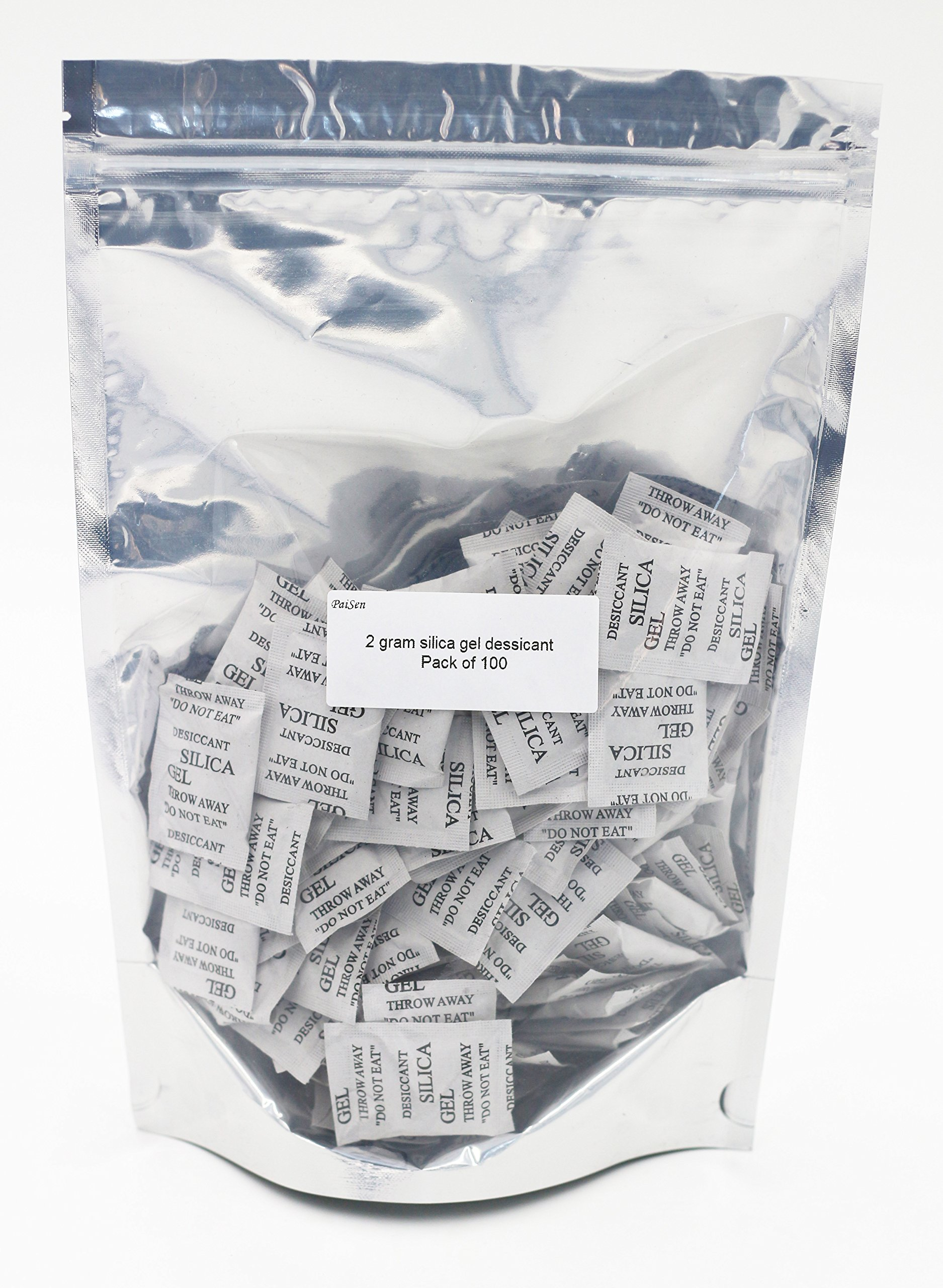 (100 packs) 2 Gram Composite Paper Drying Packets,Silica Gel Dessicant Bags, High Efficient Dehumidifier,Purewhite Moisture Gel Beads