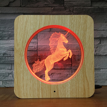 ROYAUME-UNI Best-Seller Motif Animal Mini Lampe de Bureau Licorne 3D Visuelle Acrylique Cadre Photo Lampe à poser Bois Grain Veilleuse
