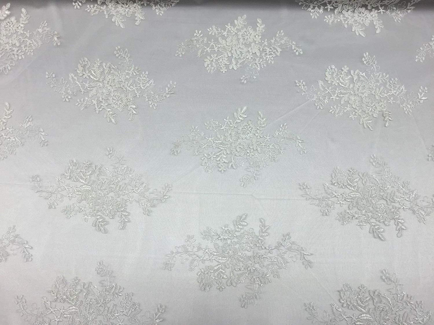 """Off White Oswald Floral Wedding Gown Dress Lace Fabric -Sold By Yard - 51""""/52"""""""