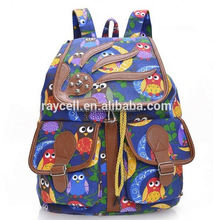 Floral printed canvas backpack / owl rucksack
