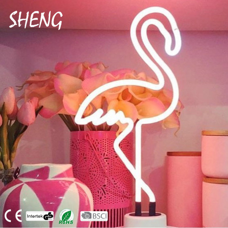 SHENG-NO-018 High Quality Battery LED Neon Table Flamingo Light for Home