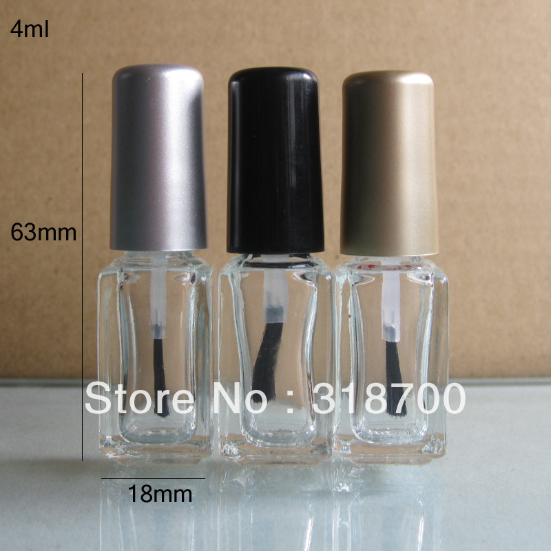 4ml 200pcs lot factory wholesale square empty nail polish bottle bottles with black gold silver lid