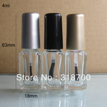 4ml 200pcs/lot factory wholesale square empty nail polish bottle bottles with black,gold,silver lid