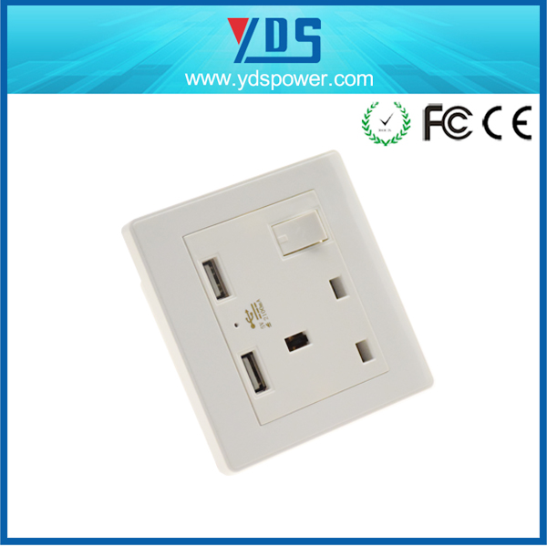 best selling product UK Type dual AC plugs outlet double USB ports wall switch socket