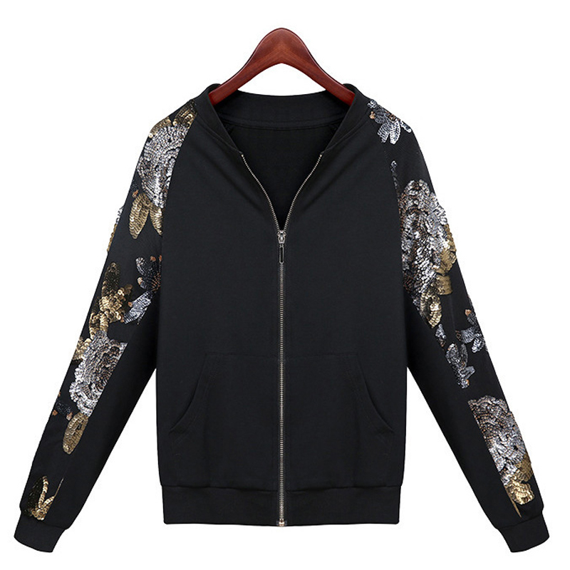 2015 Autumn Winter Women Short Sportwear Casual Cardigan Sweatshirts Long Sleeve Slim Warm Coat Sequin Printing Sweatshirt