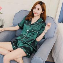 Женский летний пижамный комплект, шелковая атласная пижама, пижама с шортами, однотонная Пижама, большой размер, домашняя одежда для женщин,...(Китай)