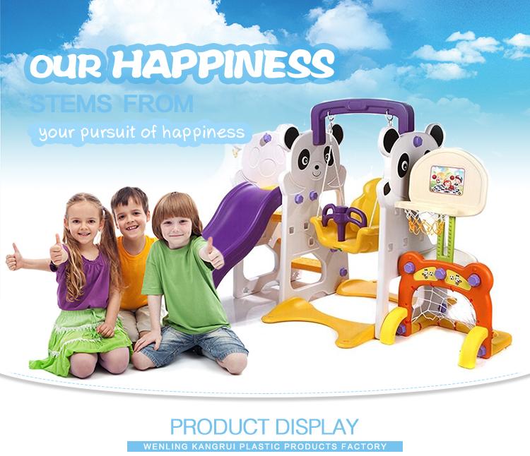 Patio interior verde/amarillo de cartón de color de bebé panda de diapositivas para los niños de plástico de diapositivas