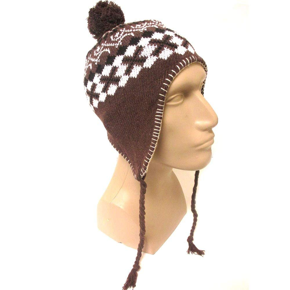 55d42f997f52f Get Quotations · 1 Winter Peruvian Ear Flap Ski Hat Beanie Cap Snow Flakes  Mens Womens Brown New
