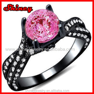 2.00 ct Round Cut accent pink with black gold plating Diamond 925 sterling silver wedding ring