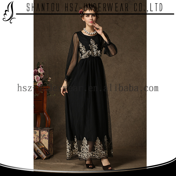 Modesty beautiful black islamic women dress elegant maxi dress long sleeve abaya embroidery designs MD9508