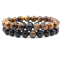 Sell hot style beads bracelet 10mm tiger eye obsidian men's set bracelet manufacturers direct
