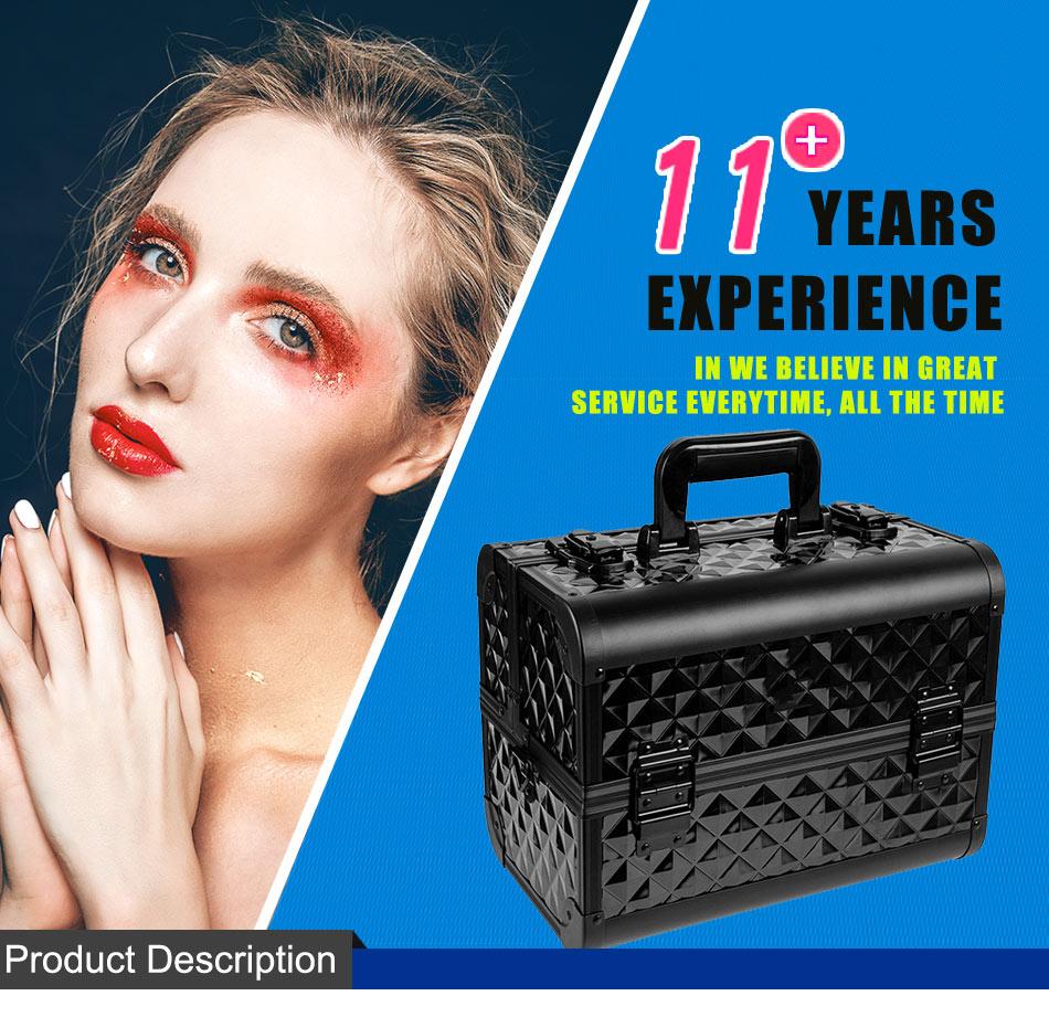 Professional Large Lockable Acrylic Vanity Makeup & Cosmetic Storage Display Case