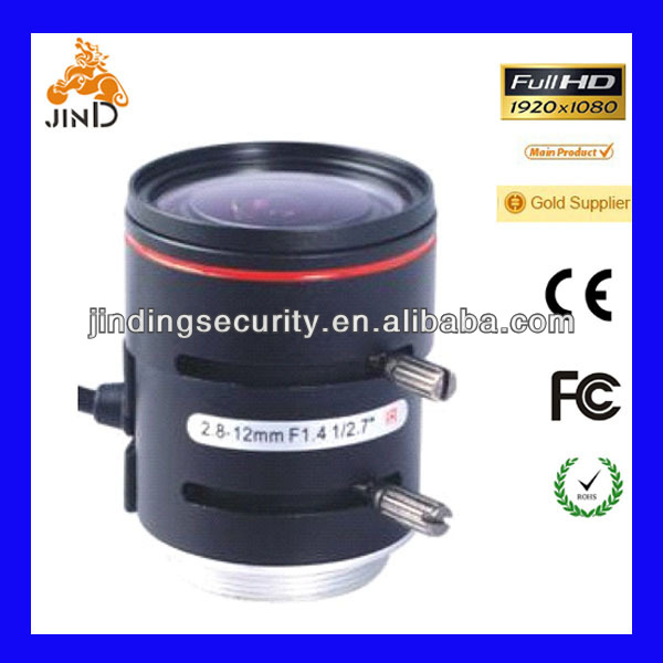 Vari-focal 2.8-12MM CCTV IR lens with DC driver, 3MP, CS mount (JD-2812D.IR-3MP)
