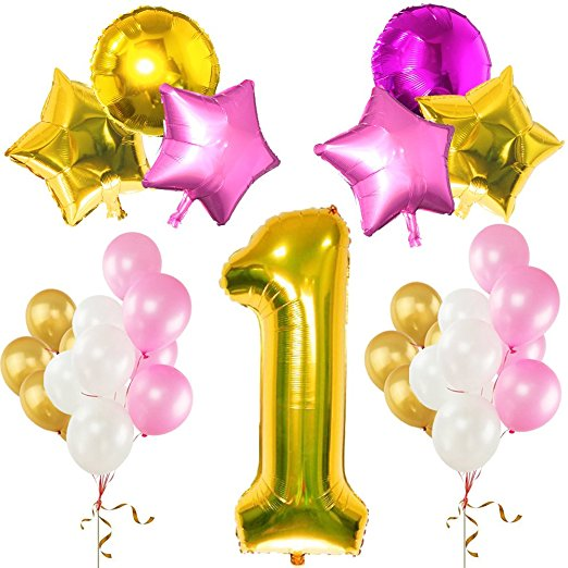 First Birthday Party Decoration Kit Pink White Gold Latex Balloons 1st Supplies