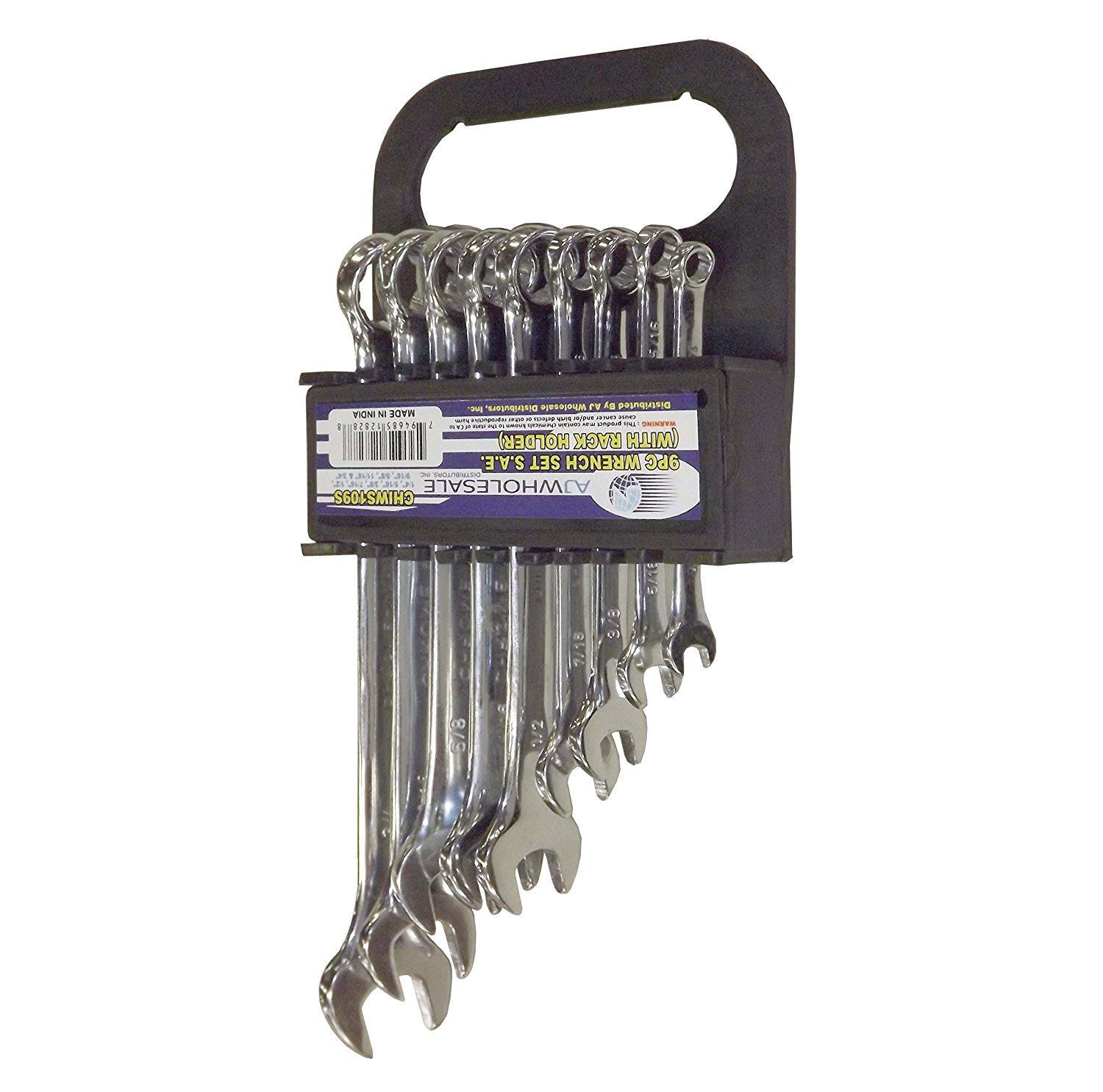 "Wrench Set SAE With Store and Go Rack Holder, 9 Piece, - 1/4"", 5/16"", 3/8"", 7/16"", 1/2"", 9/16"", 5/8"", 11/16"", 3/4"""