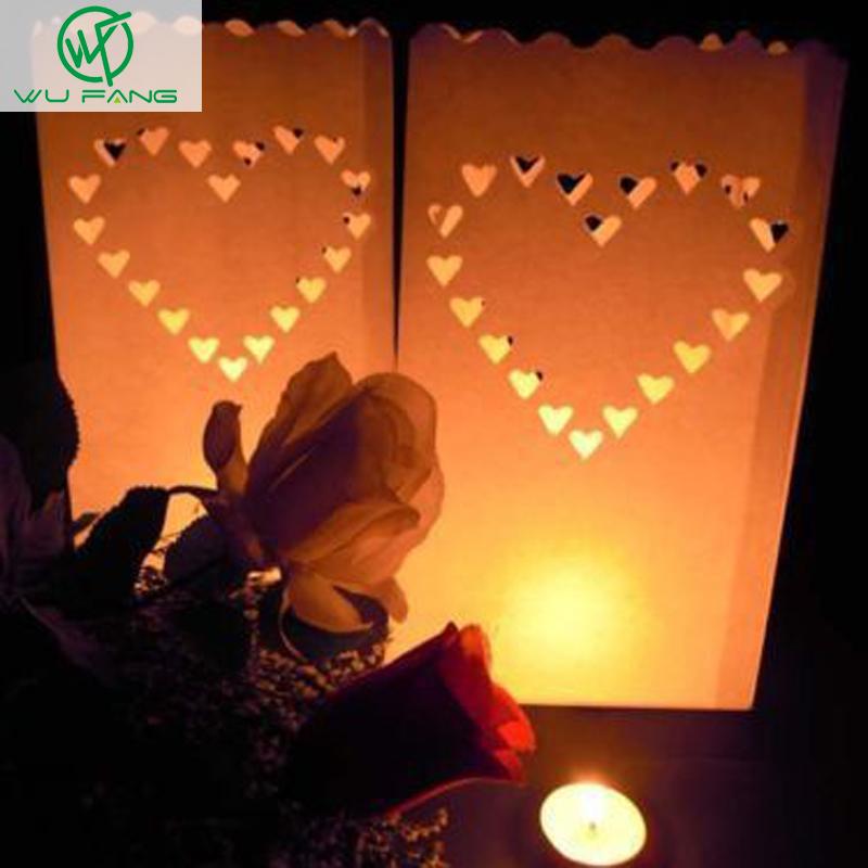 30 Pcs 3packs Heart Tea Light Holder Luminaria Paper Lantern