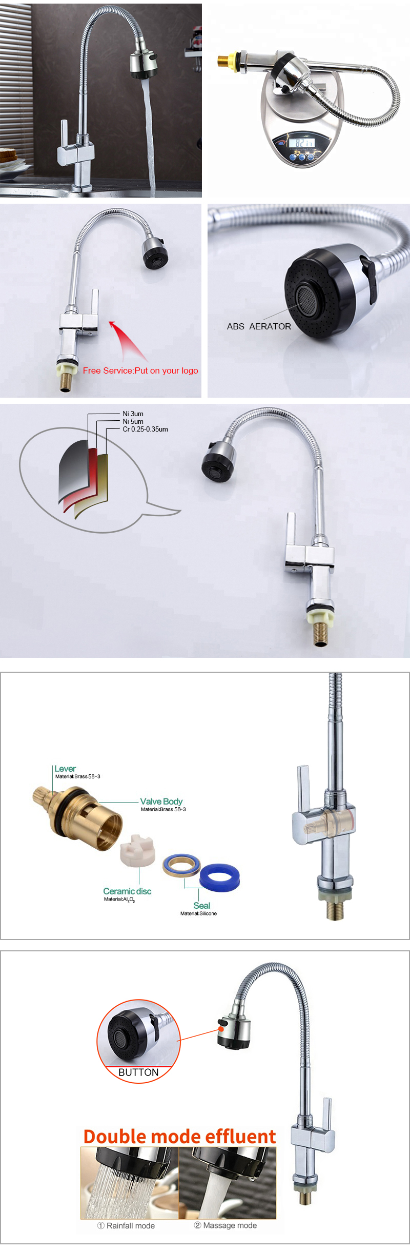 Modern design flexible neck pipe commercial kitchen tap