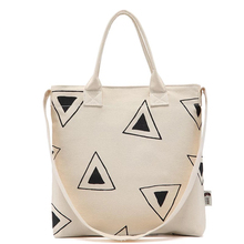 Wholesale shoulder printed shopping tote custom geometry canvas bag standard size