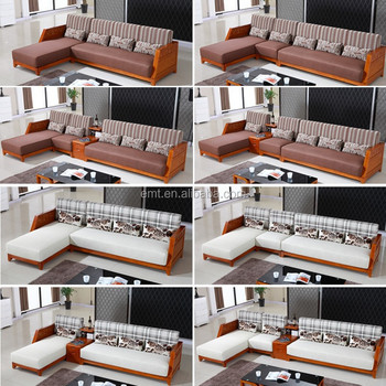 Solid Wood L Shape Fabric Coner Sofa 2017 Latest Sofa Design Living Room  Sofa
