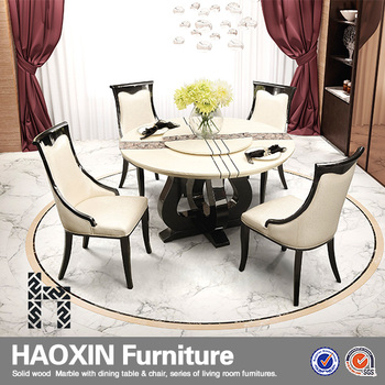 modern dining room furniture white high gloss with MDF marble dining table set
