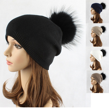 5822cb382b4 wholesale ladies knitted winter pom pom plain custom solid color cashmere beanie  hats