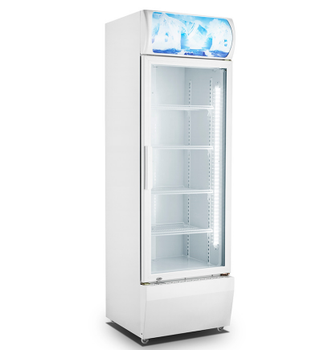 370L Self Closing Glass Door Display Showcase Fan Cooling Commercial Refrigerator Water Cooling Chiller Upright Fridge