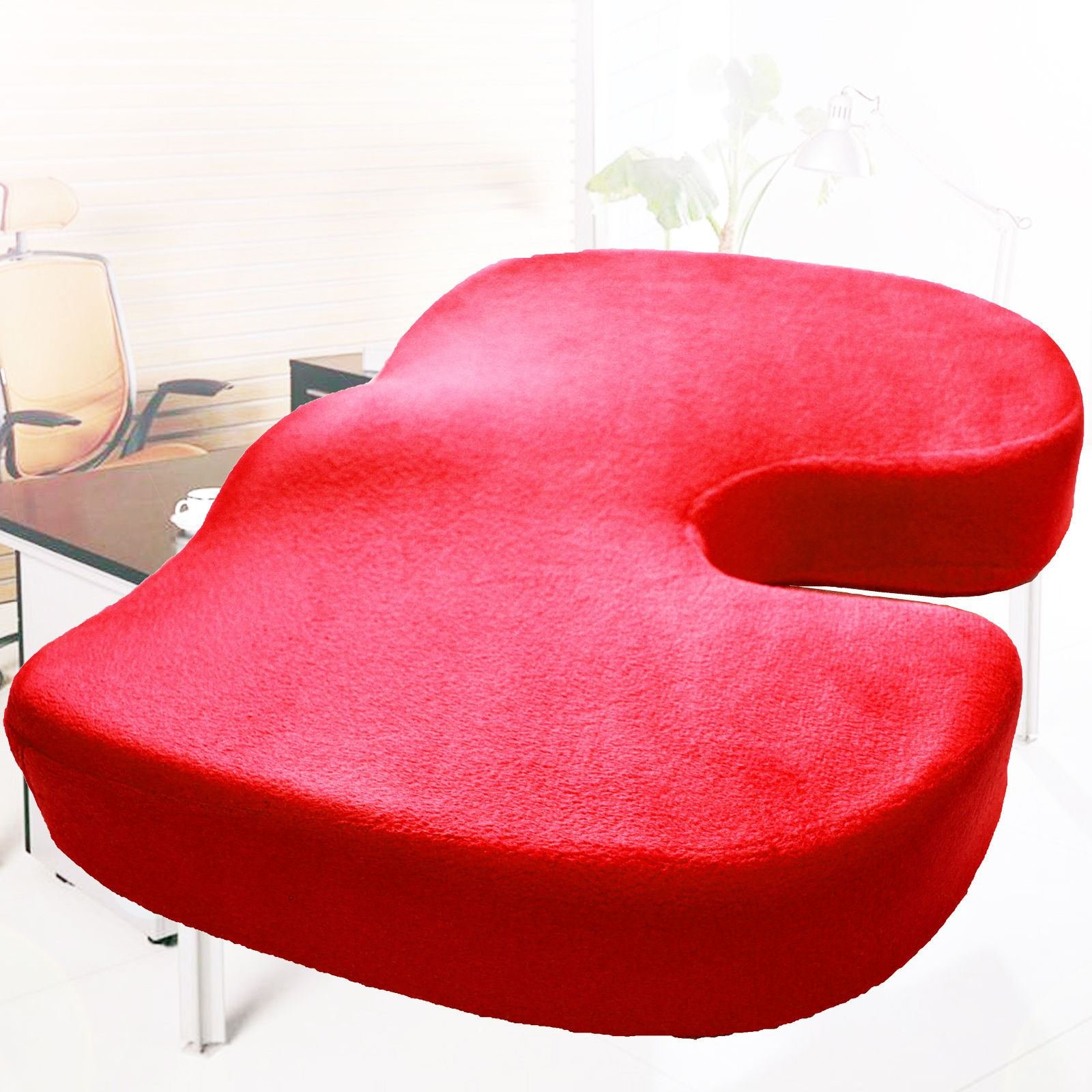 Memory Foam Coccyx Orthoped Car Seat Office Cushion Lumbar Pain Relief Pillow (Red)