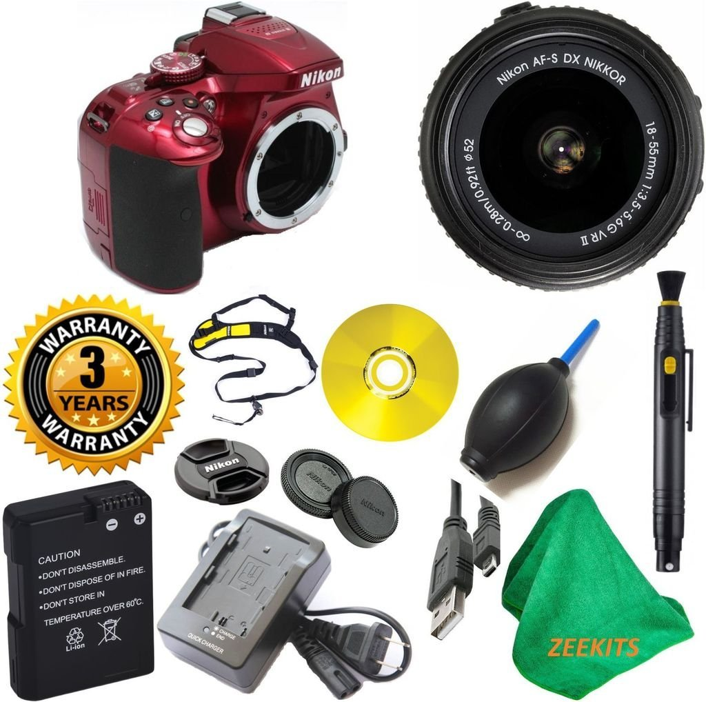 Nikon D5300 24.2 MP CMOS Red DSLR Camera with 18-55mm f/3.5-5.6G VR II Auto Focus-S DX NIKKOR Zoom Lens with Lens Cleaning Pen + 3 Year Worldwide Warranty - International Version
