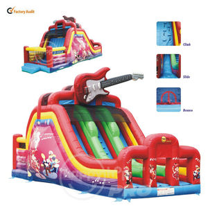 Happy Hop Pro Rent Inflatable Bouncers,Dual Lane Slide-1002A Guitar Super Dual Lane Slide n' Bouncer,rental inflatable toys