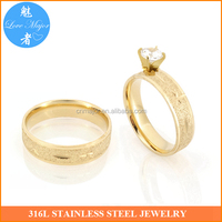 Classical hot promotion gold couple lover stainless steel wedding ring women zircon jewelry (MJJBR-087)