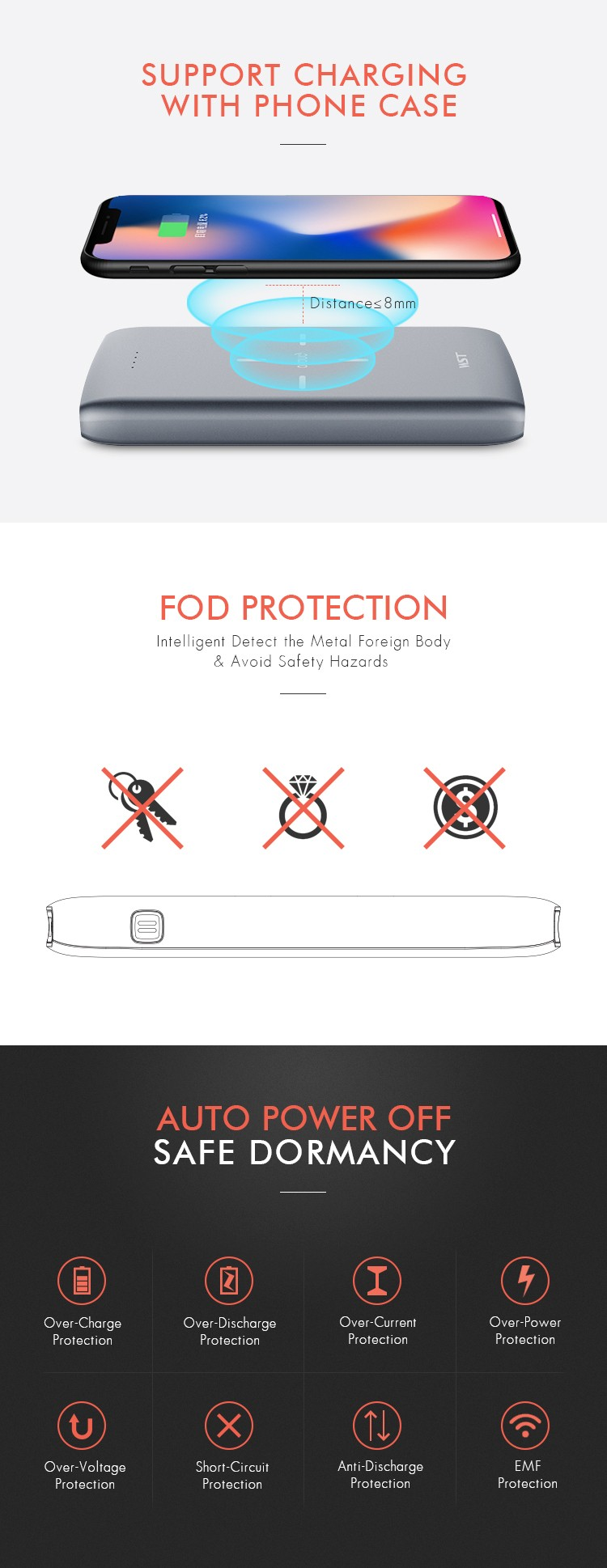 ABS+PC Fire Proof material unique power banks 10000mah portable , wireless power bank