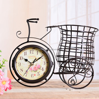 Unique Metal Bicycle Clock Decorative Bike Mute Desk Table Clock