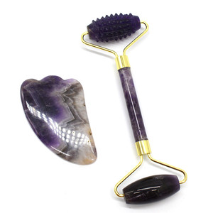 Natural Amethyst Roller Set Jade Face Roller and Gua Sha Set Anti Aging Face Massager