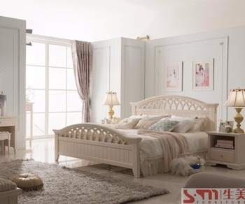Light Colored Bedroom Furniture Home King Size Bed Sliding Door Wardrobe White Color Russia Style