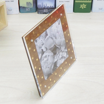 Clear 6x6 Double Crystal Picture Frames Desk Acrylic Magnetic Photo ...