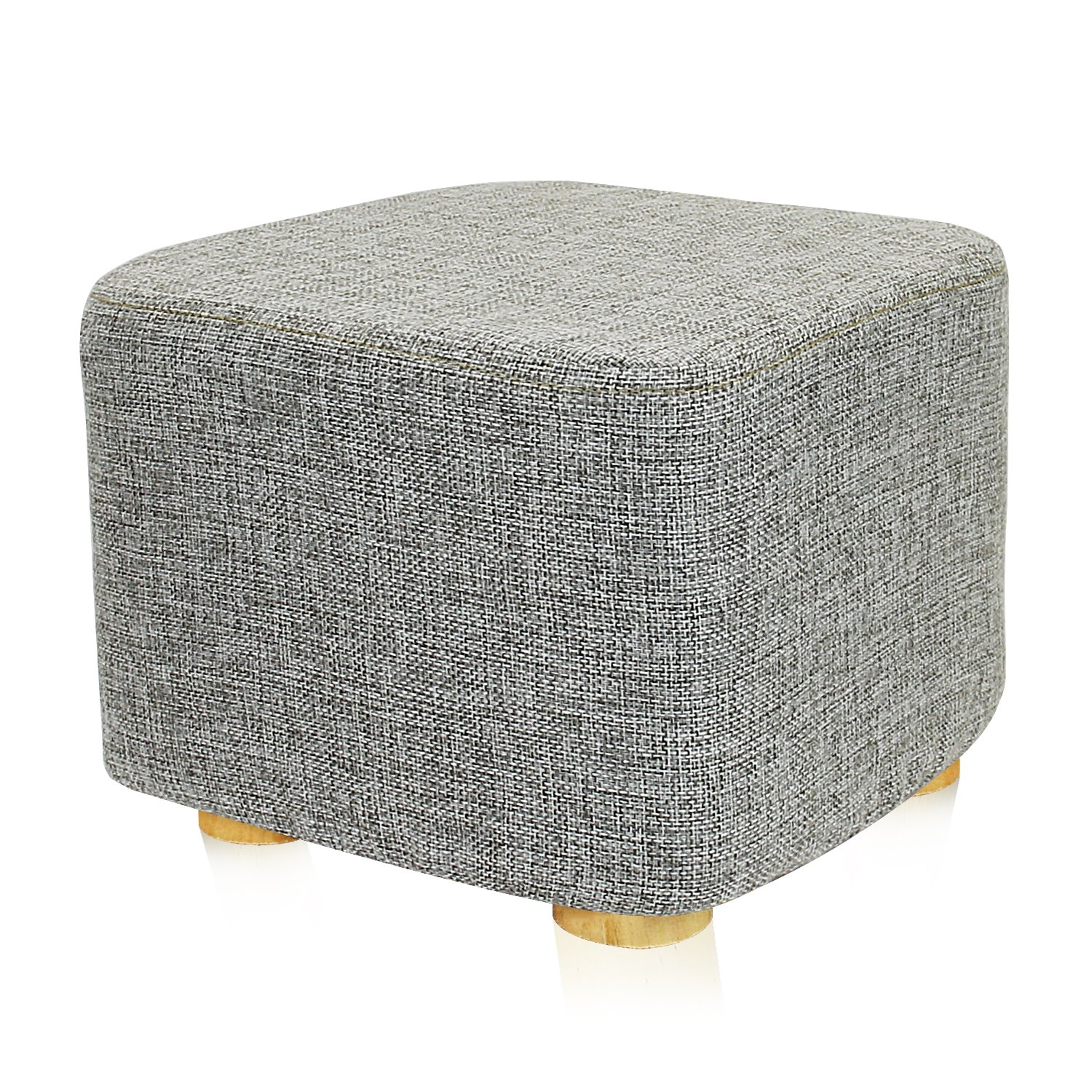 DL furniture - Square Ottoman Foot Stool, 4 Leg Stands, Short Leg, Square Shape | Linen Fabric, Gray