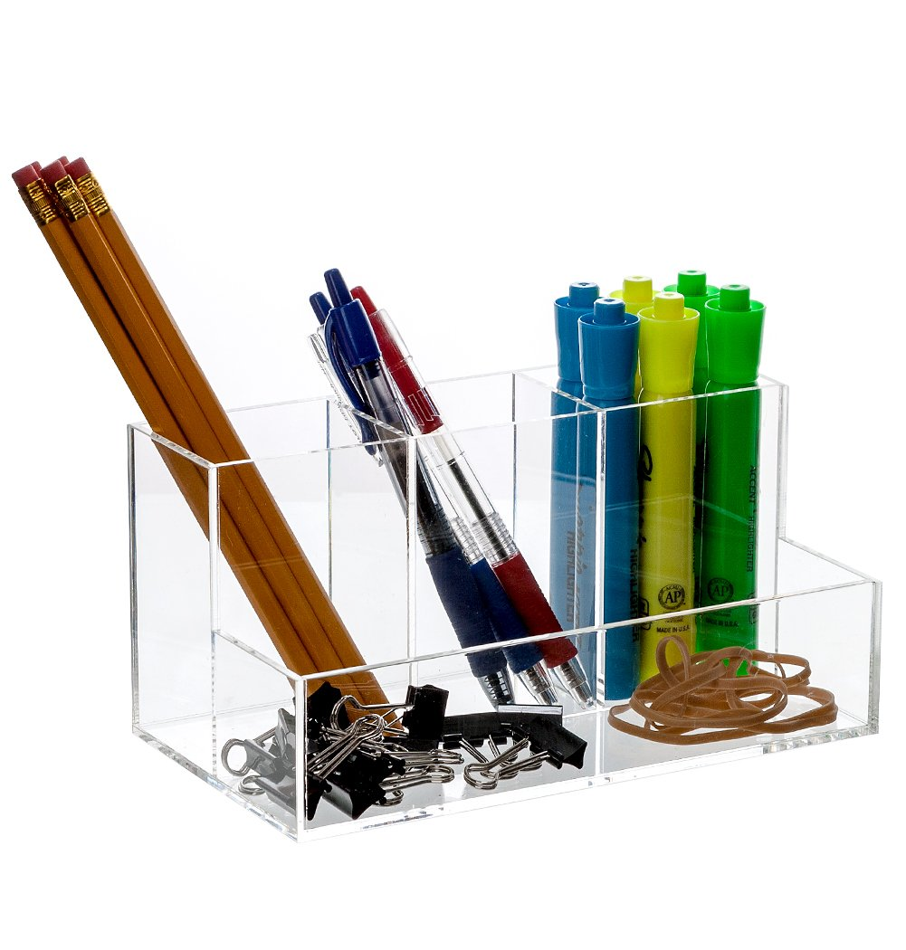 """Bennett Super Quality """"Caddy"""" Acrylic Desk, Office Accessories Divider / Makeup Brushes Organizer / Cosmetic Storage / Cell Phone, Pen And Pencil Etc. holder,"""