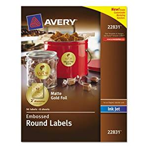 Avery Round Labels, 2 inch dia, Gold Foil, 96/Pack