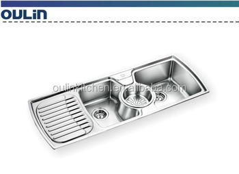 Triple Bowls Kitchen Sink with Drain Board, View Stainless Steel ...