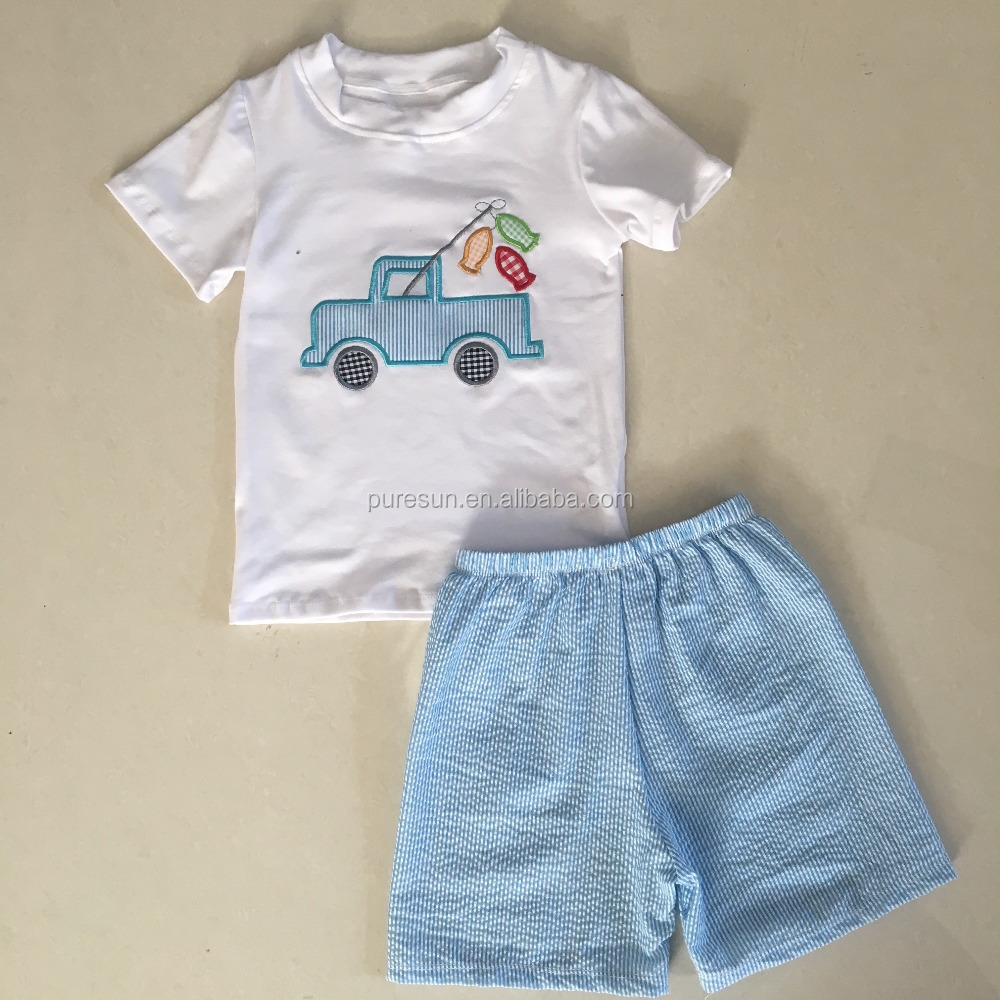 Hot sell toddler boy boutique outfits kids cotton t shirt and shorts sets irl children boys summer fishing applique clothes