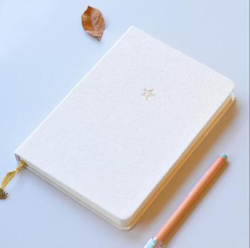 white linen hardcover sublimation blank page notebook with ribbon