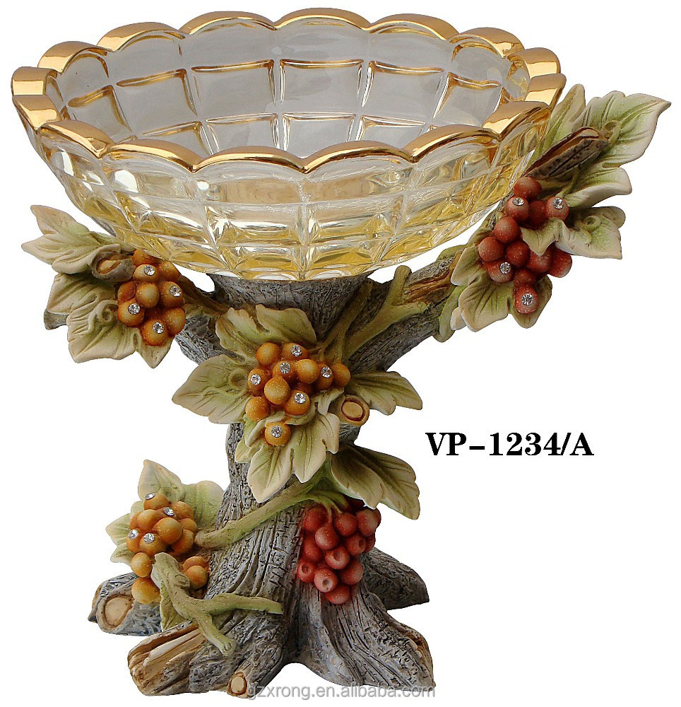 new design polyresin fruit tree with crystal glass vase top for decoration glass vase