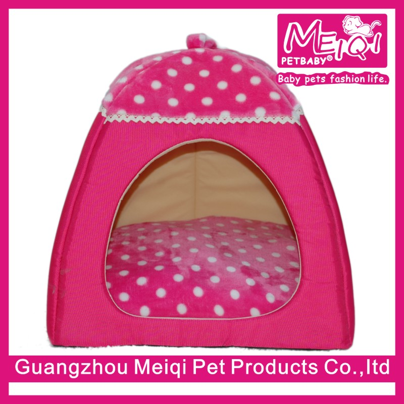 Soft Sponge White Dot Pet Cat Dog House Bed With Warm Plush Pad Dog Tent