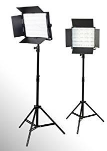 ePhoto 2 x 600 LED Photo Video Light Lighting Video Panel Light Stand Kit by ePhotoInc ULS600HSx2